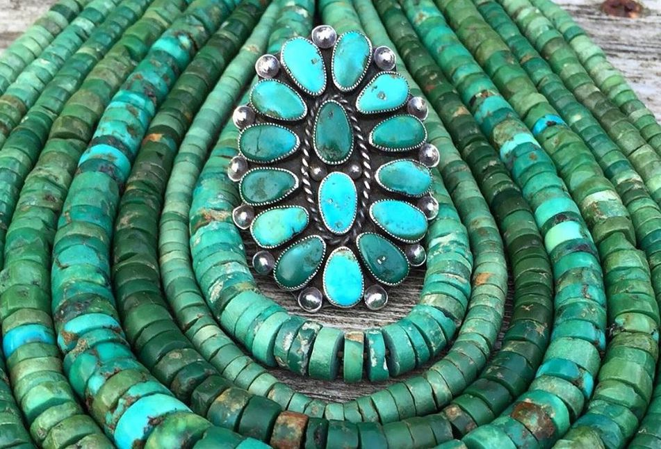 Native American beaded turquoise necklace and turquoise ring