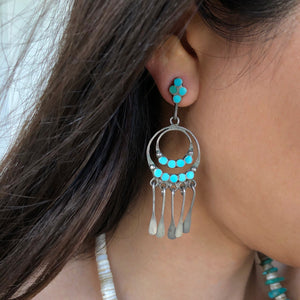Vintage Zuni Inlay Hoops