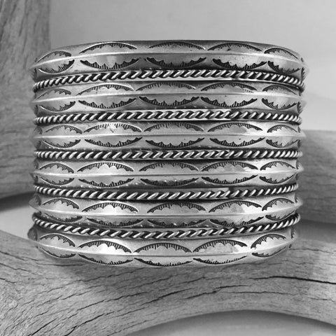Vintage Six Row Stamped Bracelet