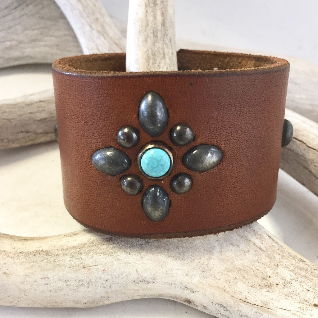Leather and Stone Bracelet