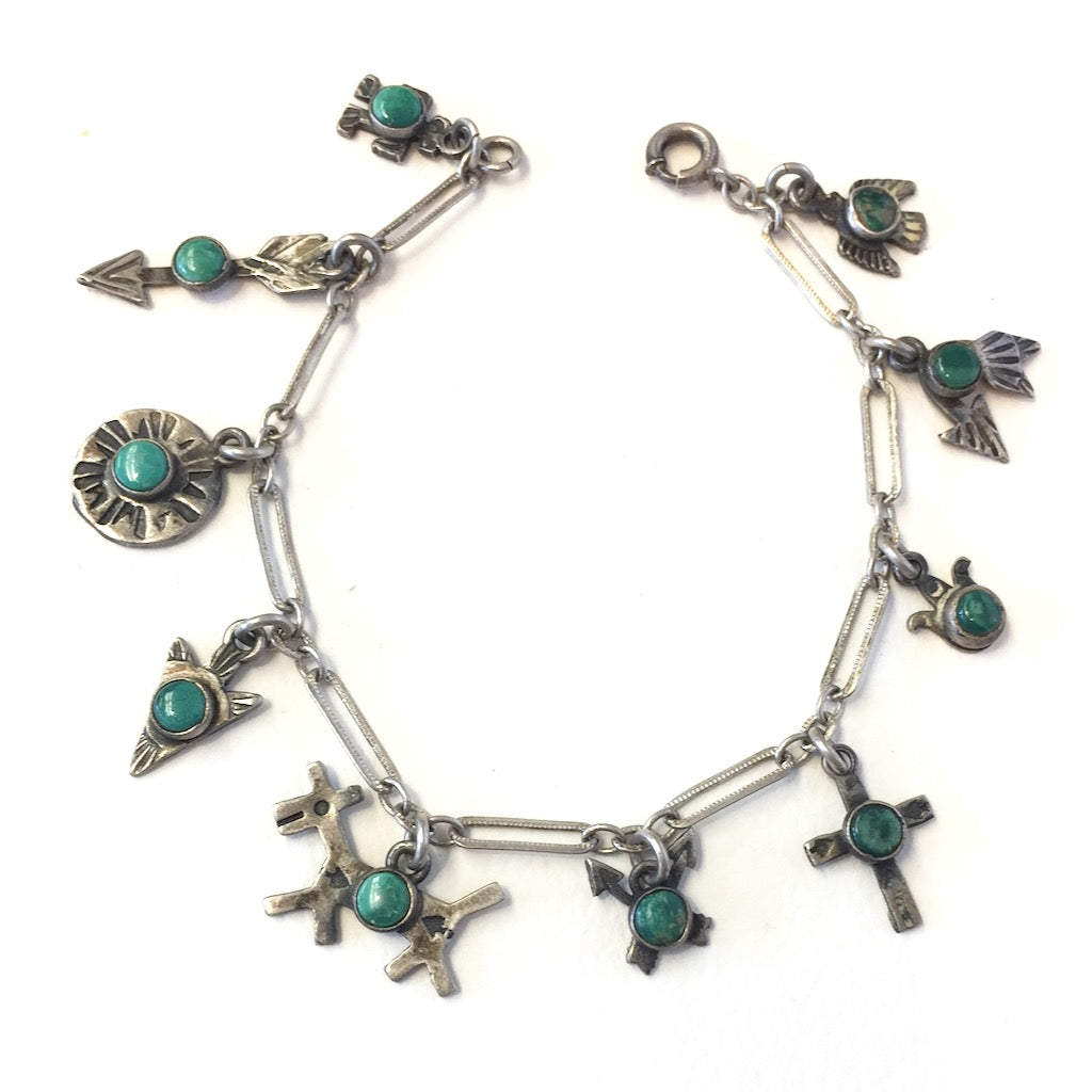 Fred Harvey Era Charm Bracelet<br>10 Charms