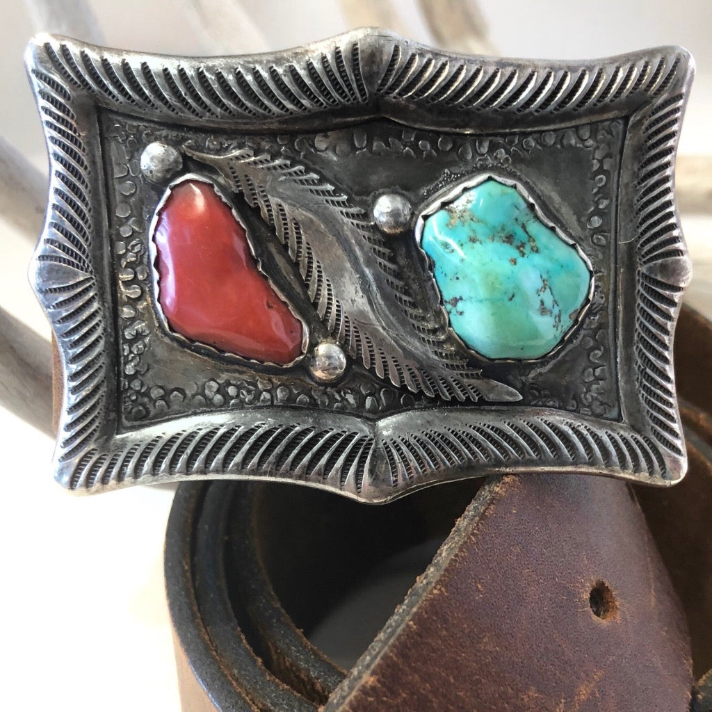 Vintage Coral & Turquoise Buckle