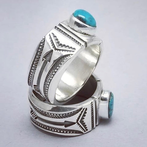 Morenci Turquoise<br>By Clendon Pete<br>Size: 8.5