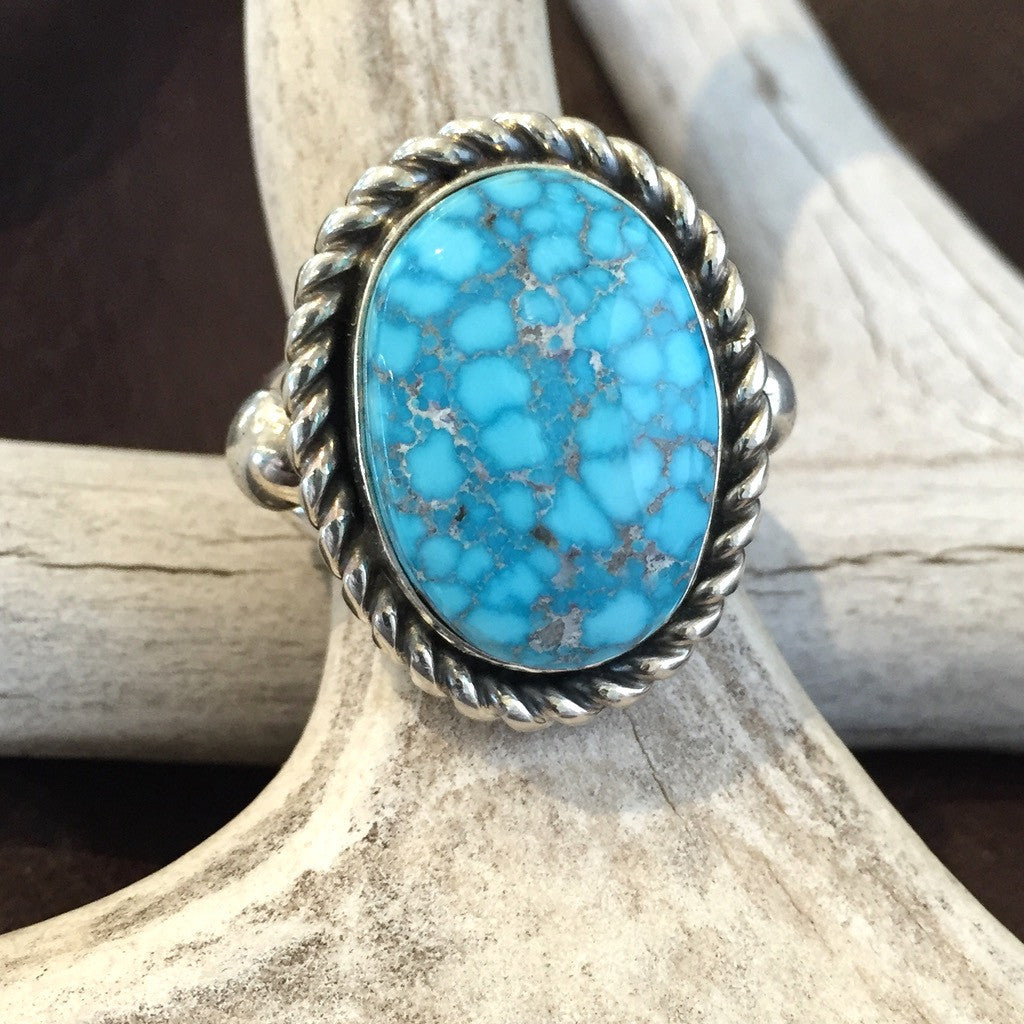 Kingman Turquoise Ring By Albert Lee      Size: 8 1/2