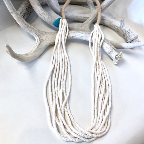 8 Strand White Clamshell Necklace