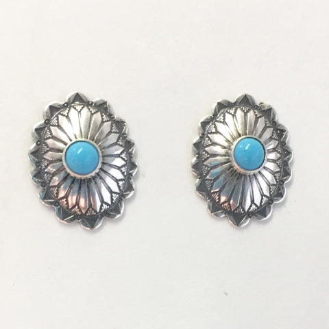 Tiny Concho Studs With Turquoise