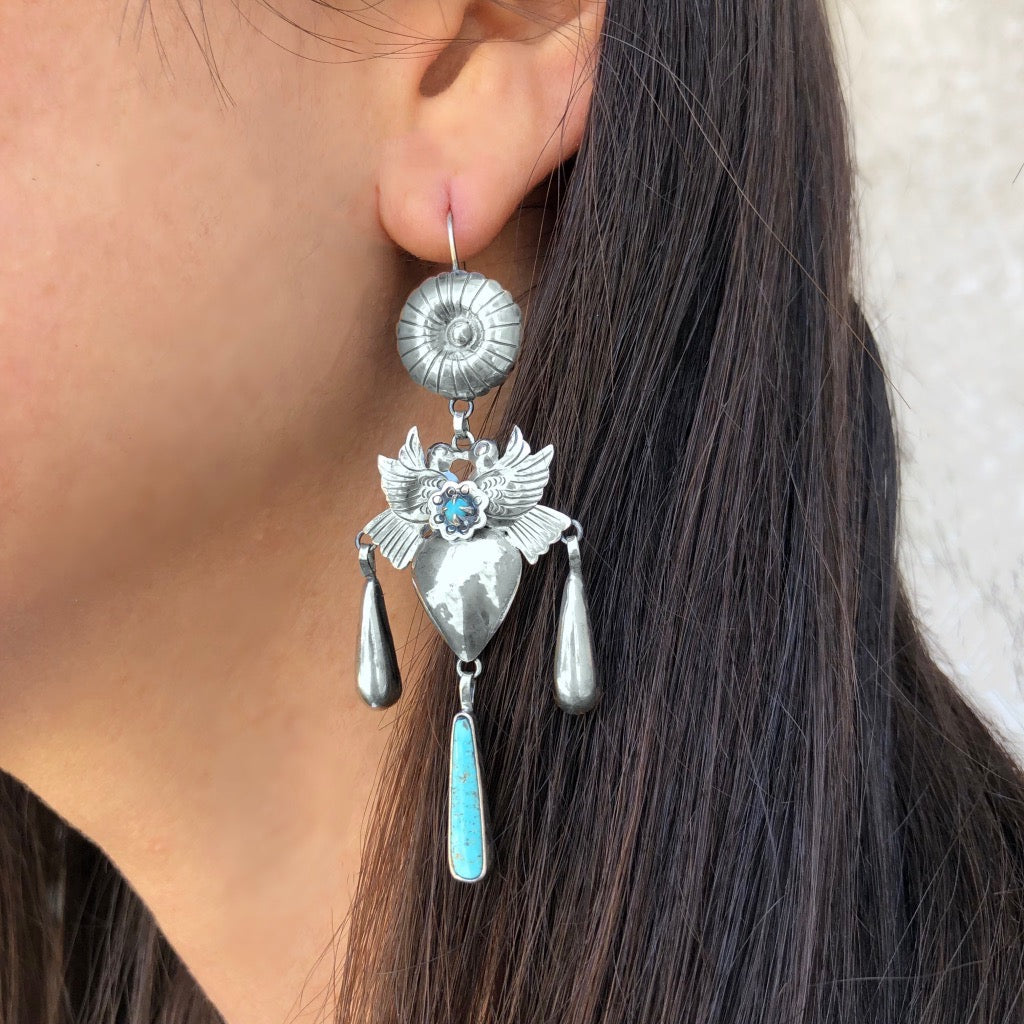 Turquoise Frida Kahlo Earrings