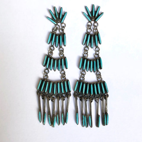 Long Zuni Needlepoint Earrings