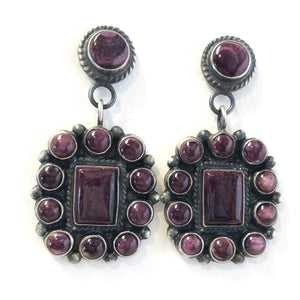 Purple Spiny Oyster Earrings<br>By Anthony Skeets