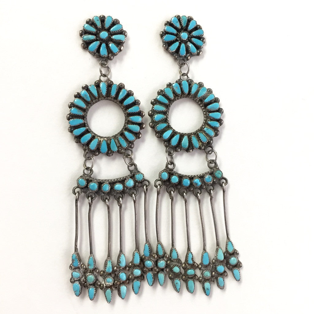 LONG! Zuni Chandelier Hoops By Milburn Dishta