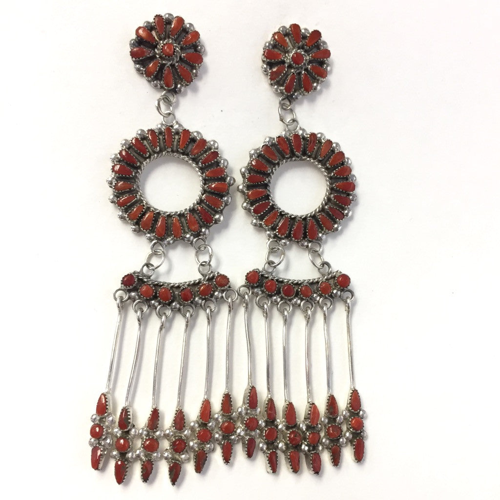 Coral Chandelier Hoops By Milburn Dishta