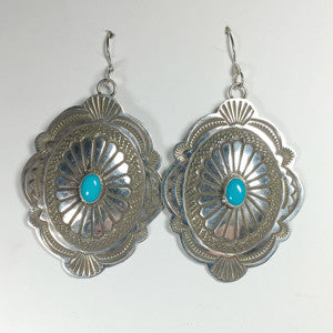 Large Concho Earrings By Arnold Blackgoat