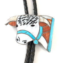 Load image into Gallery viewer, Small Bull Bolo Tie<br>By Helen & Lincoln Zunie