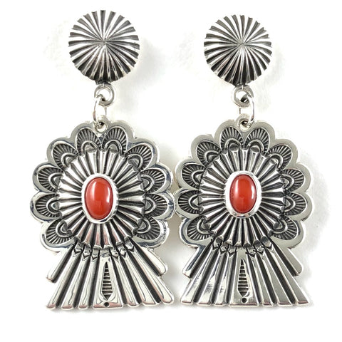 Coral Concho Earrings<br>By Clendon Pete