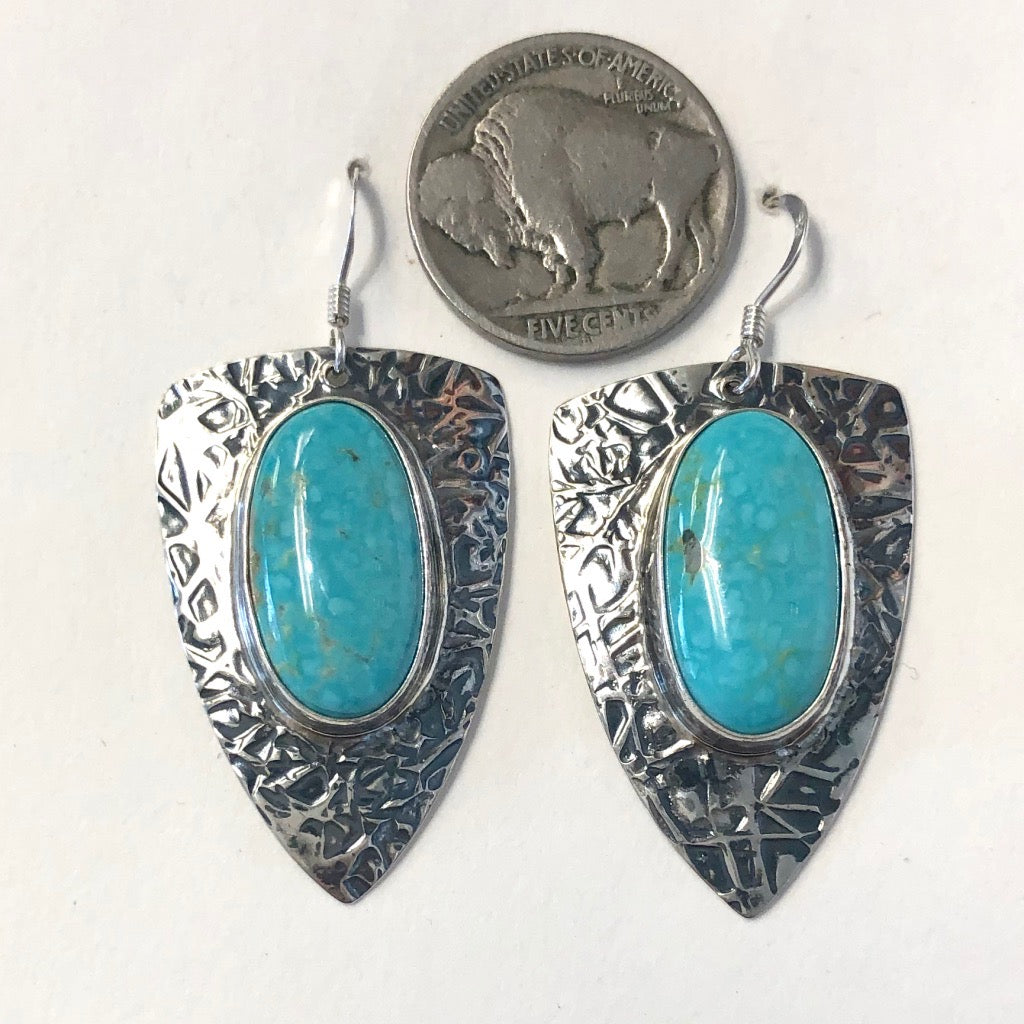 Kingman Turquoise Earrings<br>By Everett & Mary Teller