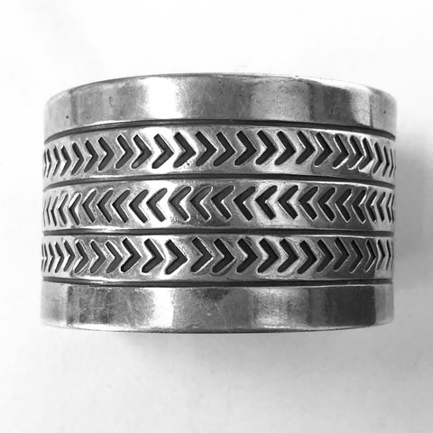 Wide Vintage Filed Silver