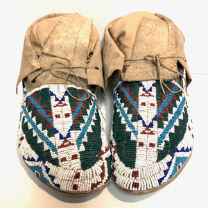 Vintage Plains Beaded Moccasins