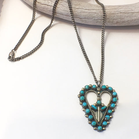 Zuni Petit Point Heart Pendant