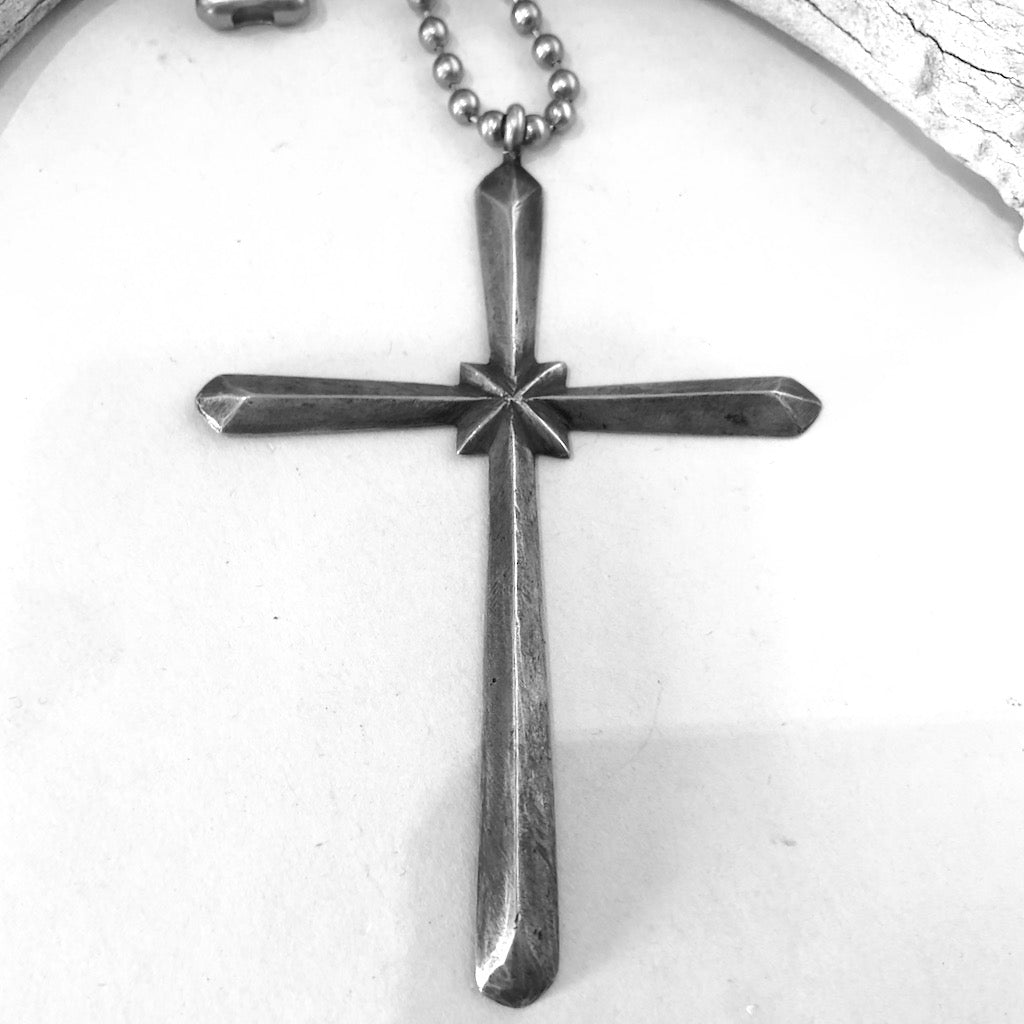 Large Sterling Navajo Cross