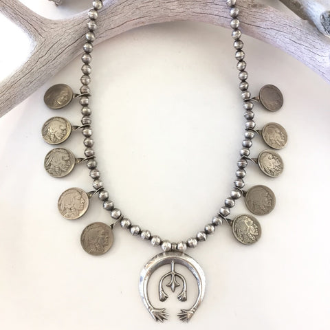 Buffalo Nickel Coin Squash Necklace