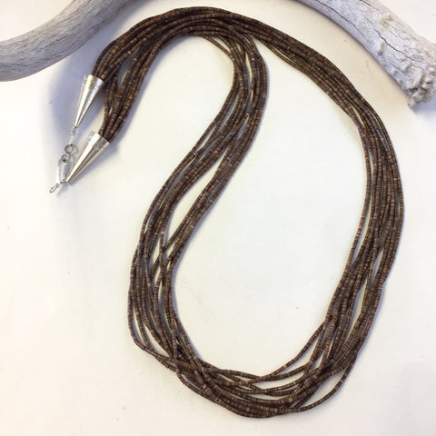 10 Strand Vintage Brown Shell Heishi