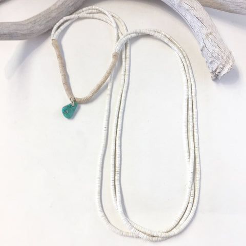 Three Strand White Clamshell Necklace