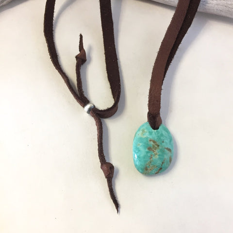 Turquoise On Leather By Jennifer Medina