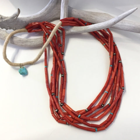 Spectacular 7 Strand Coral Necklace