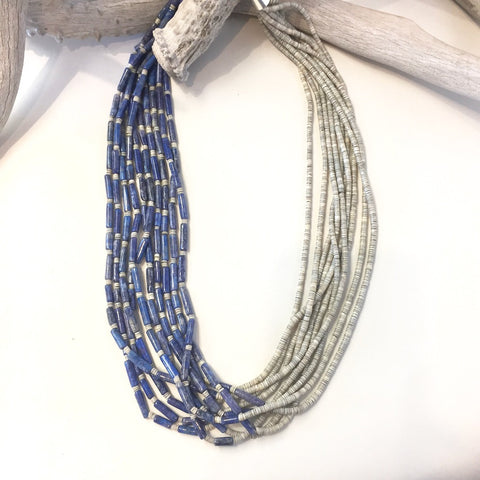 10 Strand Denim Lapis & Heishi<br>By Ramona Bird