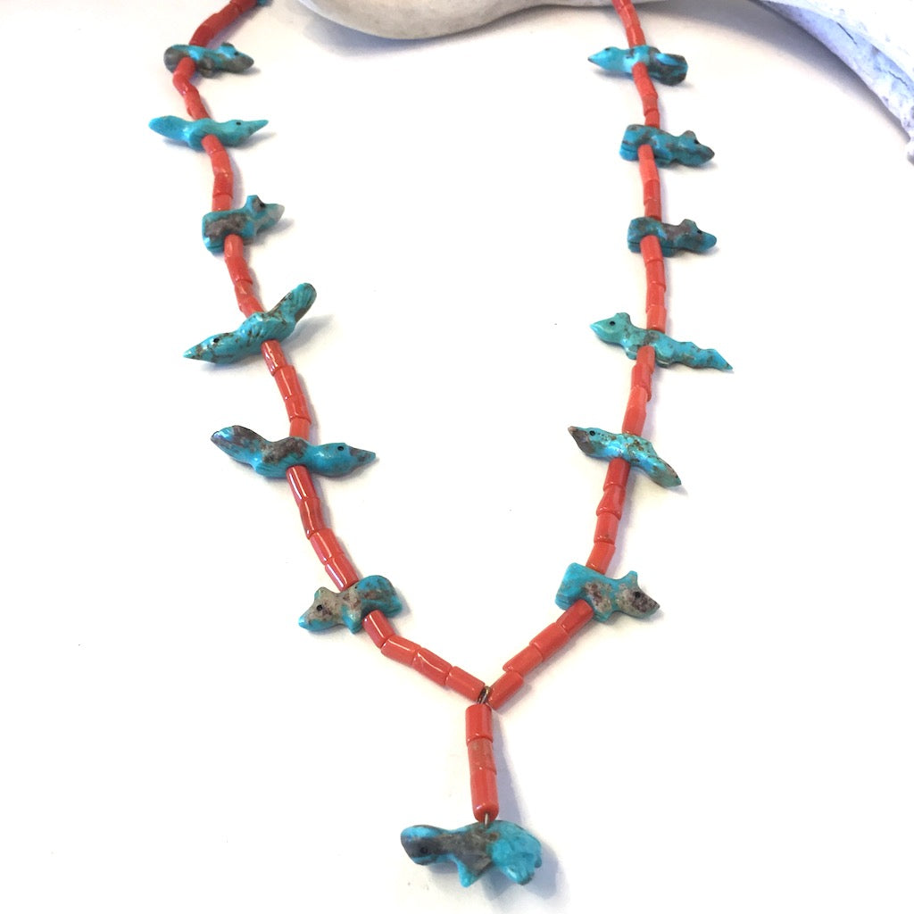 Vintage Coral & Turquoise Fetish Necklace