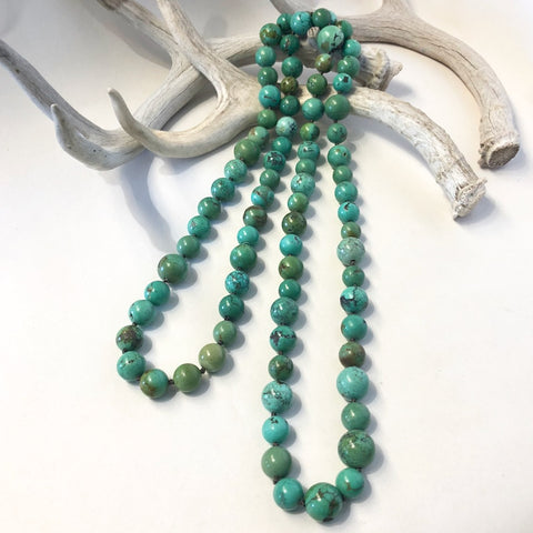 "Round Turquoise Beads<br>46"" Long"