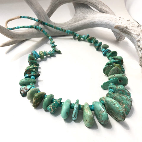 Natural Old Turquoise Tab Necklace