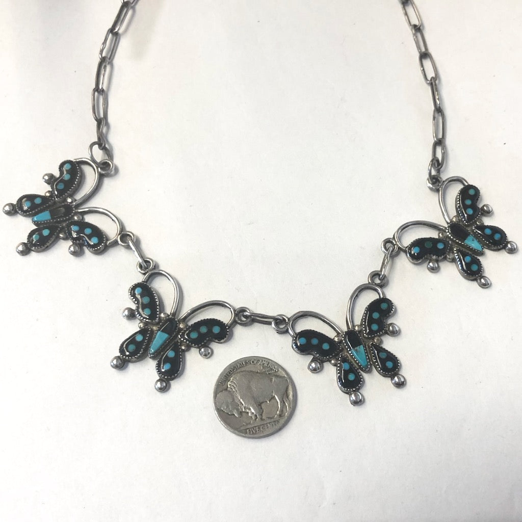 Vintage Zuni Butterfly Necklace