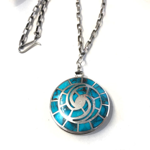 Vintage Blue Gem Watch Pendant<br>By Kee Joe Benally Jr.