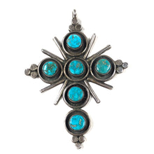 Load image into Gallery viewer, Vintage Blue Gem Cross