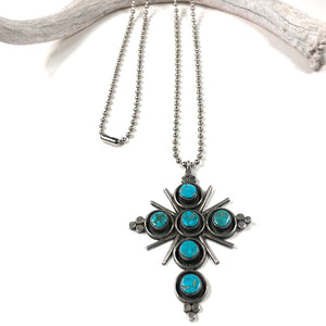 Vintage Blue Gem Cross
