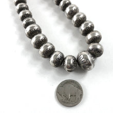 Load image into Gallery viewer, Stamped Silver Beads<br>24""