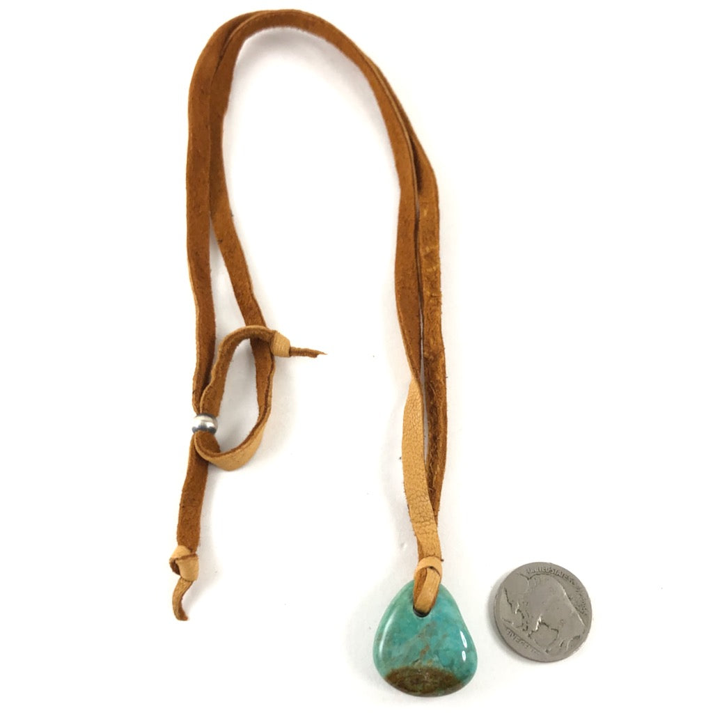 Turquoise Fob On Leather<br>By Jennifer Medina