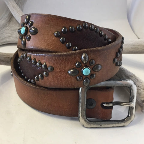 Vintage Belt With Turquoise Size: 36