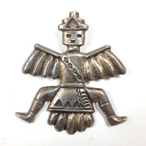 Vintage Silver Cast Knifewing Pin