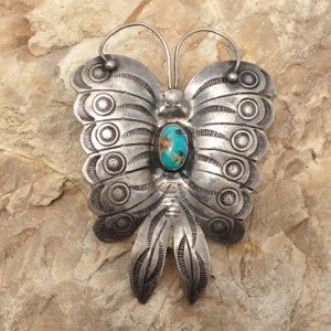 Large Vintage Navajo Butterfly Pin