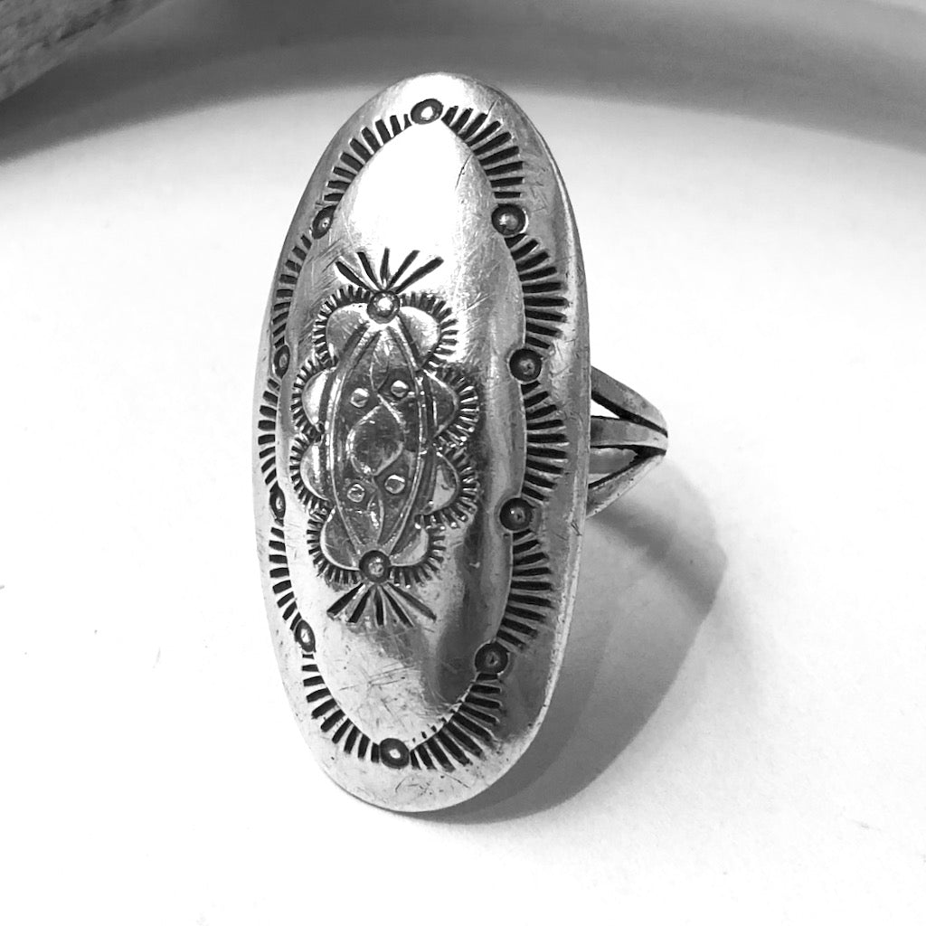 Stamped Silver<br>By Marcella James<br>Size: 8.5