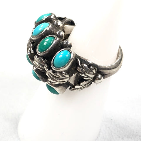 Vintage Turquoise & Leaves<br>Size: 6.5
