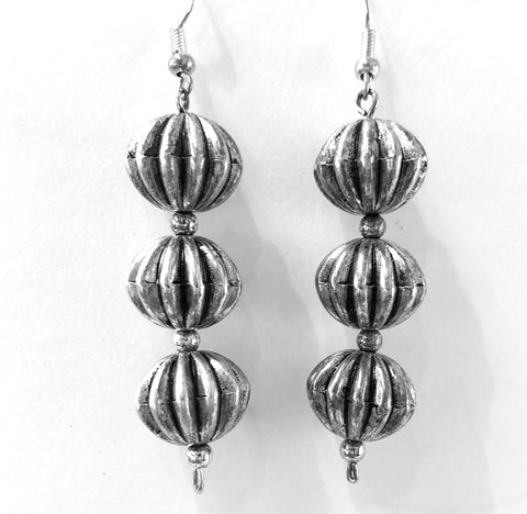 Vintage Fluted Bead Earrings