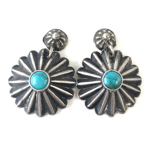 Vintage Fluted Button Earrings