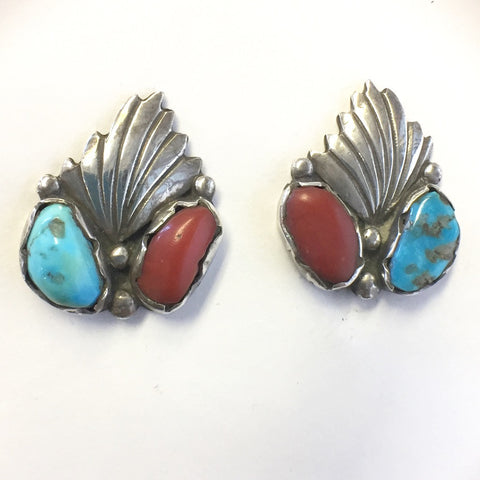 Coral and Turquoise Clips