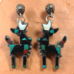 Vintage Zuni Antelope Earrings