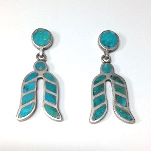 Vintage Zuni Inlay Blue Gem Turquoise