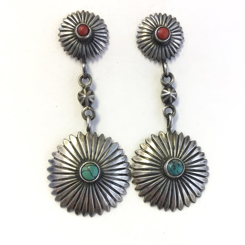 Vintage Cast & File Concho Earrings