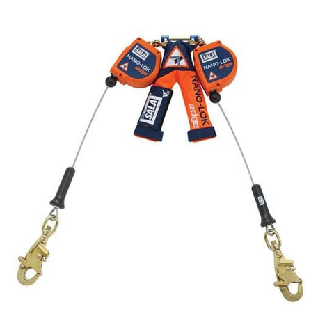 Nano-Lok™ Edge Twin-Leg Quick Connect Self Retracting Lifeline 8 ft. (2.4m)- Galvanized cable with swiveling snap hooks - Barry Cordage